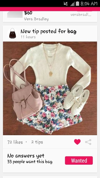 shorts bag blouse