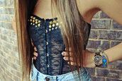 tank top,lace,black lace tank,studded top,lace up,corset top,bustier,bralette,shirt,clothes,top,studded,see through,navy,tight top,crop tops,black,vintage,girly,black crop top,studs,blouse,corset,girl,style,outfit,shorts,High waisted shorts,fashion,hipster,swag,beautiful,cute,hair,nails,denim,jewelry,lace bustier,black lace bustier,spikes,high waisted denim shorts,lave ti,nitted,lace top,nit,nittedshirt,bad girls club,badass,strapless,transparent,transparent shirt,grudge,studded crop top,lace crop top