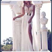 dress,prom dress,long prom dress,white dress,silver belt