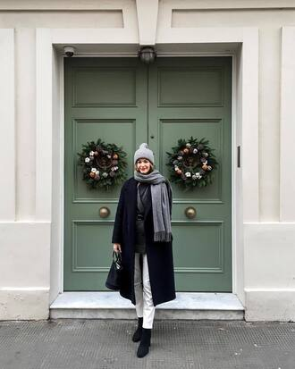 coat tumblr black coat black long coat long coat oversized oversized coat winter outfits scarf grey scarf beanie grey beanie denim jeans white jeans boots black boots ankle boots