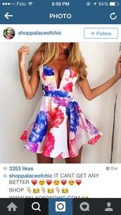 dress,white dress,sumner,floral dress,low cut dress,v neck dress