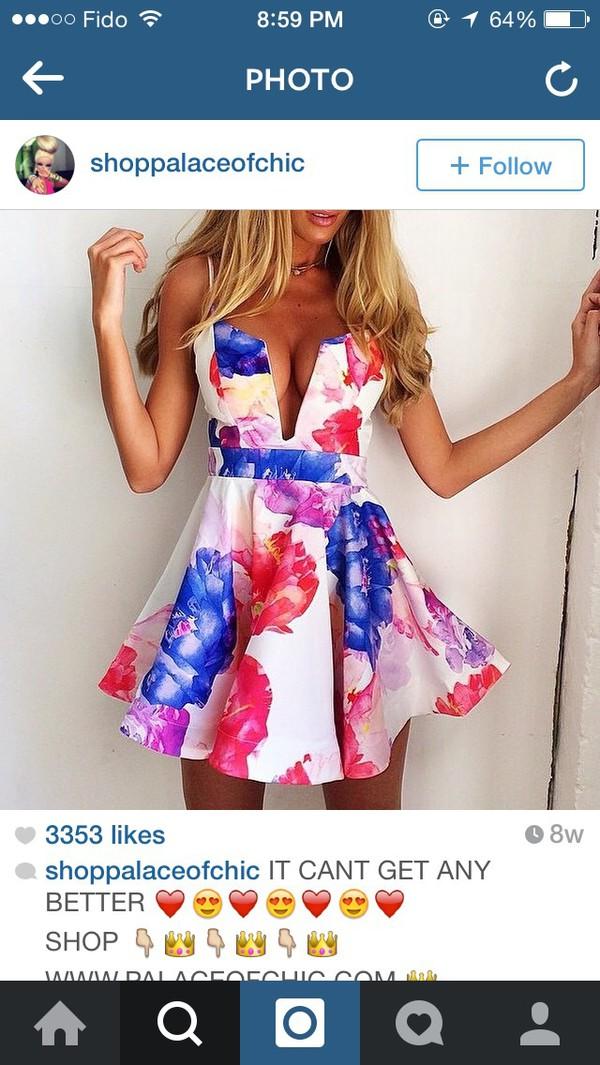 dress white dress sumner floral dress dress low cut dress v neck dress