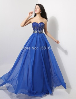 Aliexpress.com : Buy Best Selling Sweetheart Neckline Beaded Bust Floor Length Long Chiffon Prom Sale Dress from Reliable sales ups suppliers on Aojia Top Evening Dress