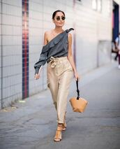 top,stripes,striped top,pants,sandals,bag,sunglasses