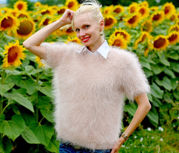 blouse hand knit made mohair sweater jumper beige crewneck supertanya soft fluffy fluffy