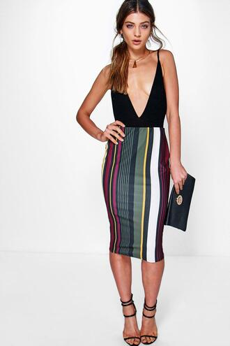 skirt stripe midi skirt striped skirt midi skirt boohoo skirt multi color skirt