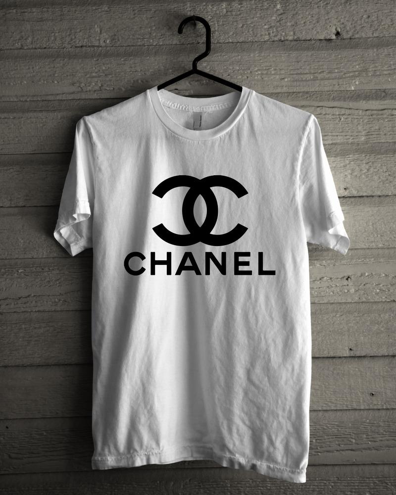 Chanel Logo High Quality Custom Made Men Black White T