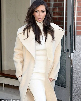 coat oversized kim kardashian winter coat cream