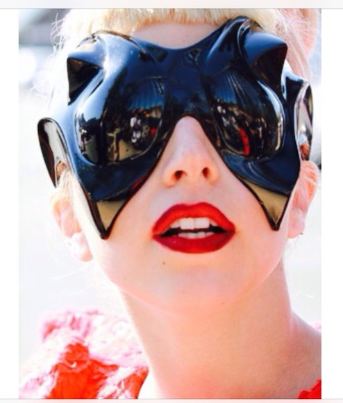 lady gaga sunglasses glasses alien red avant garde