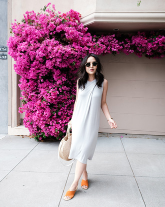 dress sunglasses tumblr midi dress grey dress sleeveless sleeveless dress shoes slide shoes bag