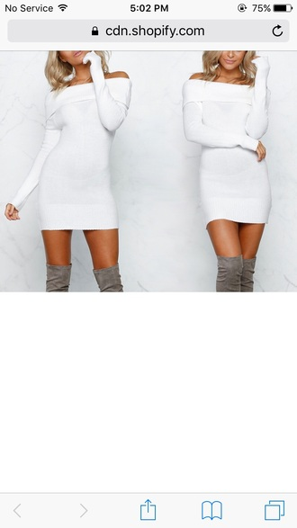 dress girly girl girly wishlist white white dress off the shoulder off the shoulder dress sweater dress
