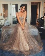 dress,beige,glitter,girl,off the shoulder dress,prom dress,prom,sparkle,long