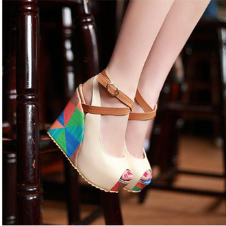 shoes colorful wedges colorful wedges colorful shoes geometric geometric print open toes open toe wedges