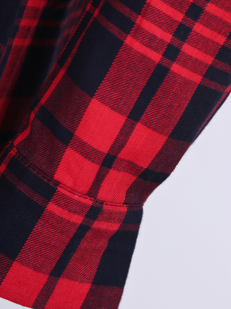 Red Lapel Long Sleeve Plaid Epaulet Blouse - Sheinside.com