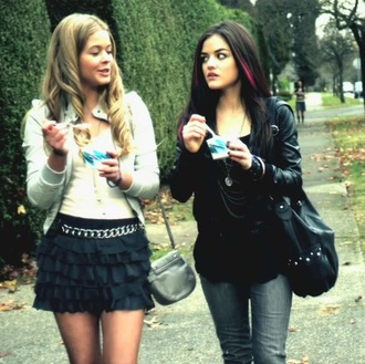 skirt black skirt cute skirts pretty little liars outfit blazer jacket white jacket white sweater cropped fashion fall outfits