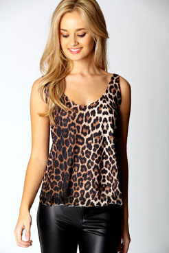 Una Leopard Print Scallop Vest at boohoo.com