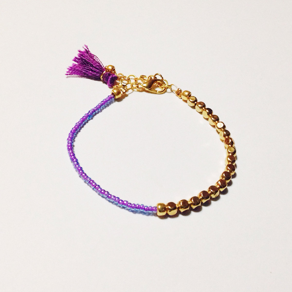 Friendship beaded bracelet, tassel bracelet, purple bracelet