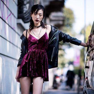 dress tumblr purple mini dress velvet velvet dress black leather jacket leather jacket jacket black jacket choker necklace grunge velvet slip dress
