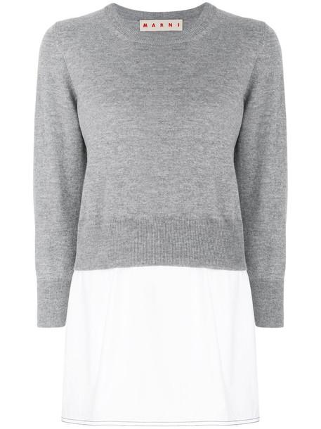Marni - crew neck sweater - women - Cotton/Cashmere/Virgin Wool - 46, Grey, Cotton/Cashmere/Virgin Wool