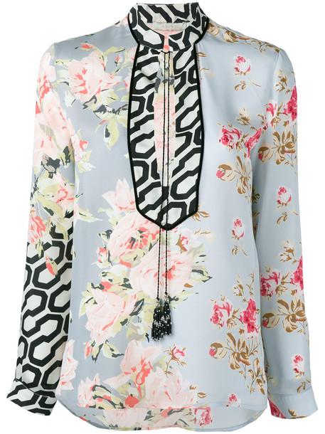 Amen blouse women floral print silk top