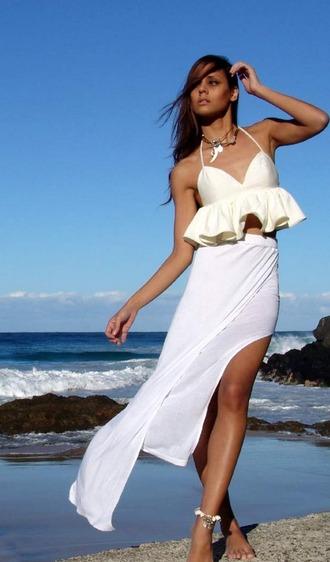 skirt white skirt boho