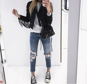 jeans,girl,bag,ripped jeans,black jeans,high waisted jeans,skinny jeans,boyfriend jeans,blue jeans,adidas jackets sweatsuit,jacket,denim,black,white,blue,black and white,converse,fashion,style,streetwear,streetstyle,street,fringes,girly,girly wishlist,back to school