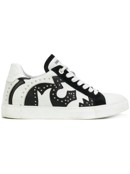 Zadig & Voltaire women sneakers leather white suede shoes