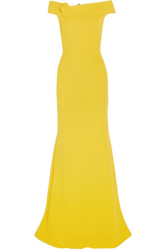 gown wool yellow dress