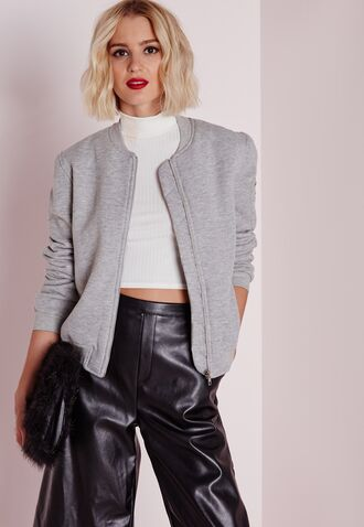 jacket grey bomber jacket white crop tops leather pants missguided red lipstick