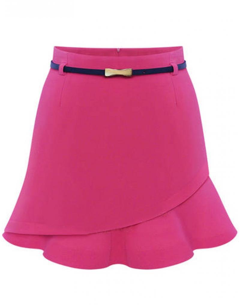 Pink Asymmetrical Ruffle Bodycon Skirt