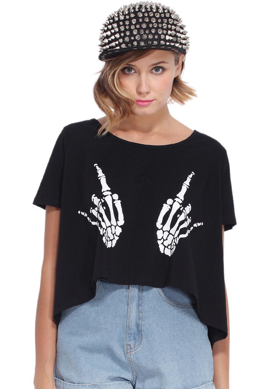 ROMWE   Skull Hand Black T-shirt, The Latest Street Fashion