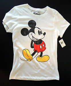 "Disney Classic Mickey Mouse Ladies Junior T Shirt Brand New w Tag ""Vintage Look"" 