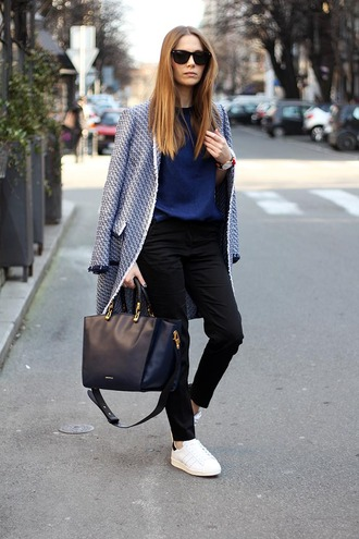 fashion and style blogger coat office outfits black leather bag black pants stan smith