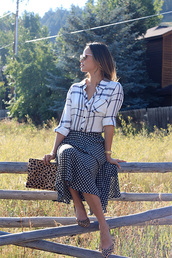 skirt,shirt,jamie chung,shoes,bag,sunglasses