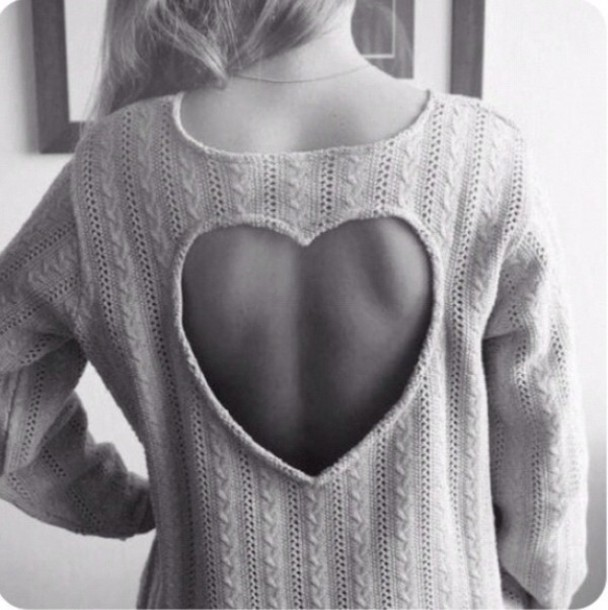 Cute heart hollow out sweater hot