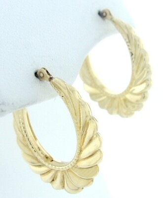 jewels hoop earrings earrings gold scalloped ribbed ghetto