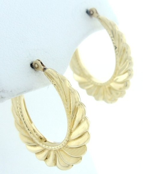 jewels hoops gold earrings scalloped ribbed ghetto