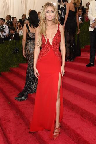 dress gown prom dress gigi hadid red dress slit dress red carpet plunge v neck met gala style: uwl140 uwl140 unomatch unomatch shop unomatch brand unomatch dresses fashion metgala2015