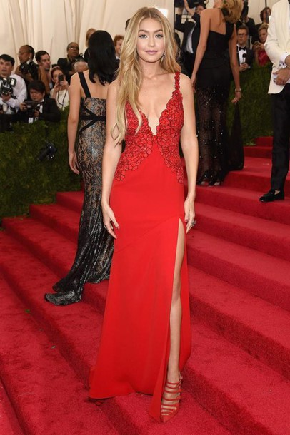 dress, gown, prom dress, gigi hadid, red dress, slit dress, red ...