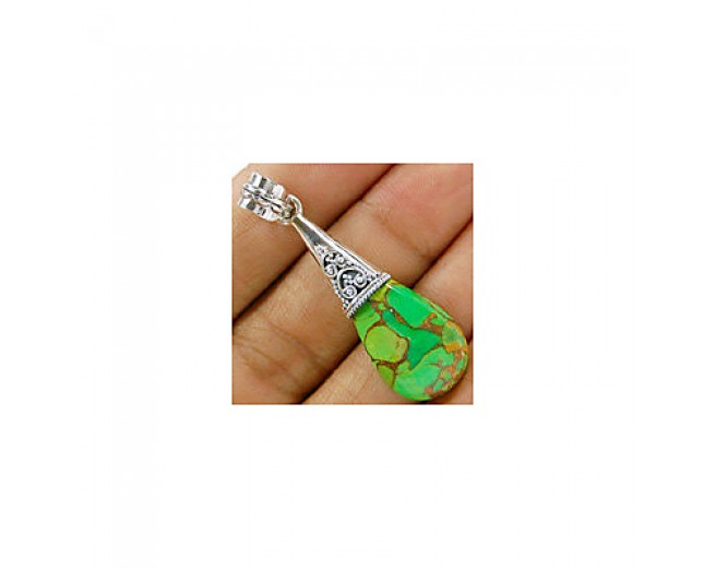 Handmade 925 sterling silver Green Copper Turquoise Pendant