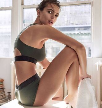 underwear sports bra bralette bra emily ratajkowski model editorial dkny