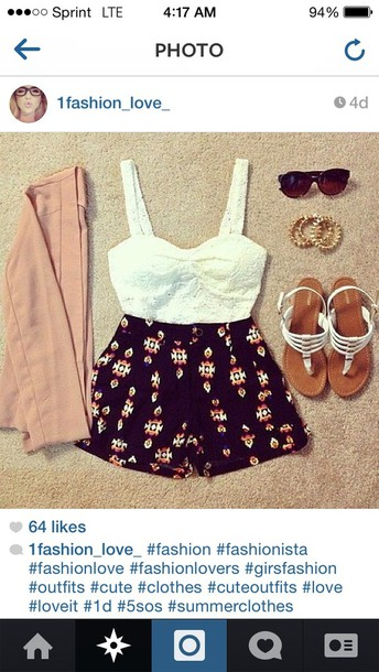 shorts sunglasses shirt