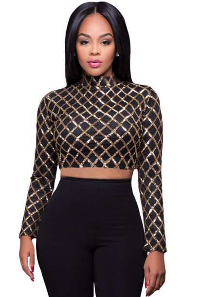 069441febb00d0 top, crop tops, black crop top, long sleeves, sequins, sequin top ...