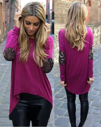 pink sweater elbow patches glitter sequins sweater top shirt pink fall fashoin fall outfits tunic dress