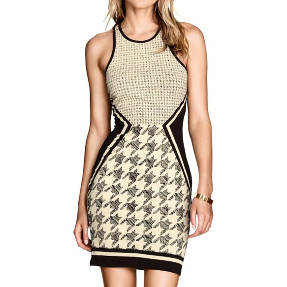 Racer Neck Vest Dress With Dogtooth Panel