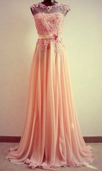 bateau dress pink chiffon long prom flowy high neck