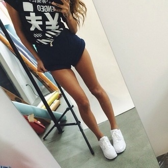 t-shirt white trainers black top chinese girl short flawless large navy shorts