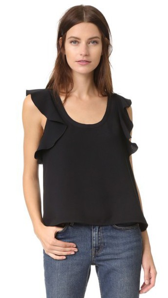 Elizabeth And James Tatum Ruffle Top - Black