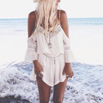white dress romper boho dress offshoulder jumpsuit white jumpsuit lace dentelle dress dress boho white beach sunshine hat v-neck chiffon backless straps style fashion lace dress indie boho summer dress tumblr outfit vintage indie lace jumsuit playsuit white bohemian off the shoulder off the shoulder dress cut-out lace lace jumpsuit crochet crochet dress white crochet dress crochet jumpsuit white playsuit cute white jumpsuit summer jumpsuit summer cloth clothes summer outfits white sexy jumpsuit sexy jumpsuit fashion clothes white romper bikini rumper summer hippie pretty girly tumblr cute accessories outfit trendy elegant white lace romper sexy sun tan boho chic cut out shoulder elastic waist www.ustrendy.com bohemian dress lightweight mini dress jewelry necklace ring v neck dress white chiffon top lace white sexy dress backless dress shorts shirt love belt ootd minimalist fashionista apparel swimwear cover ups coverups girl