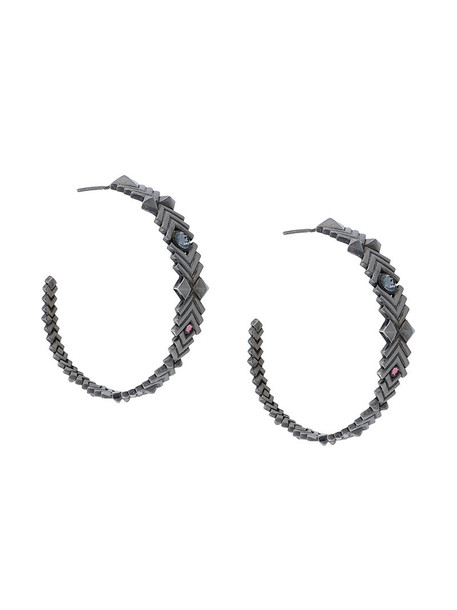 Charlotte Valkeniers women earrings hoop earrings silver grey metallic jewels